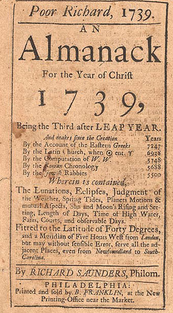 Long S - Ben Franklin's Poor Richard's Almanac 1739
