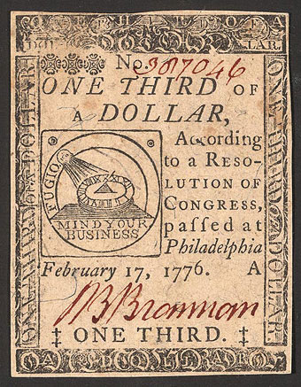 Long S - A sample of colonial currency with the long s