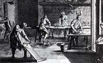 Tanning - Curriers treating, shaving and burnishing hides. <i>Encyclopedia of Sciences, Arts and Trades</i>, Diderot 1769